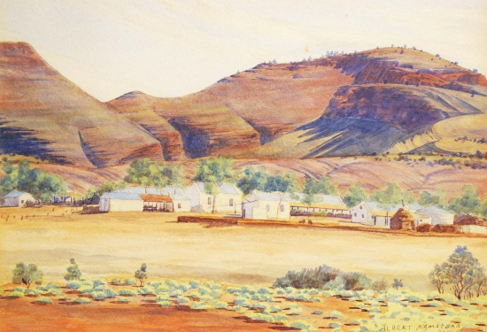 Albert Namatjira, Hermannsburg Mission with Mount Hermannsburg, 1937