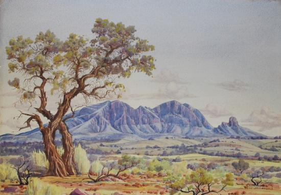 Albert Namatjira, Mount Sonder with Corkwood Tree, c. 1944