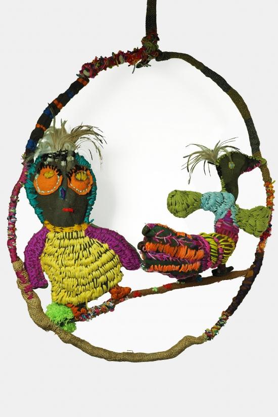 Trudy Inkamala, Owl and Bird on Swing, 2021