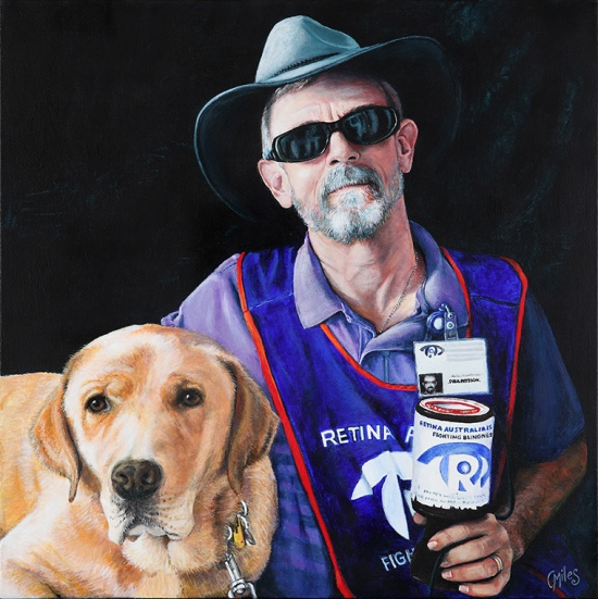 painting of blind white man with seeing-eye dog, collecting money for Retina Australia