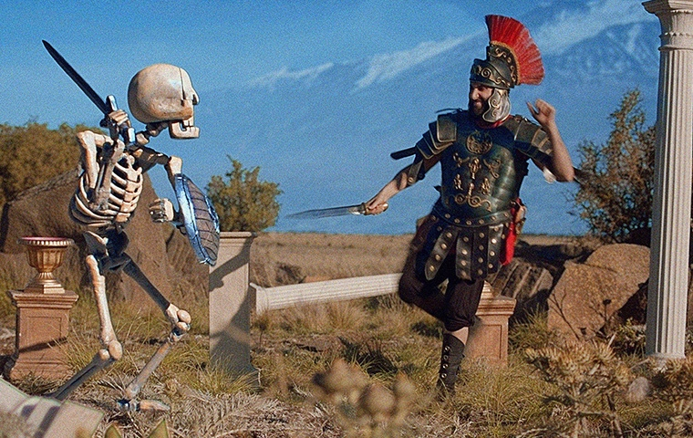 Stop motion skeleton fighting a real life man dressed as a Roman gladiator
