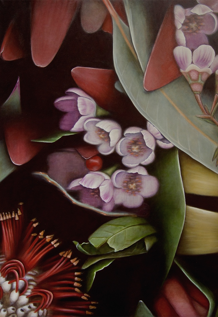 painted image of purple and red native Australian flowers