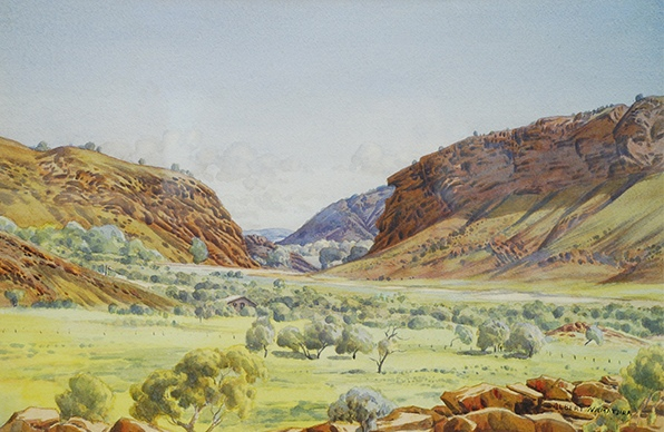 Albert Namatjira Heavitree Gap c.1949 - 54 Watercolour on paper 34 x 51 cm Ngurratjuta Corporation Collection