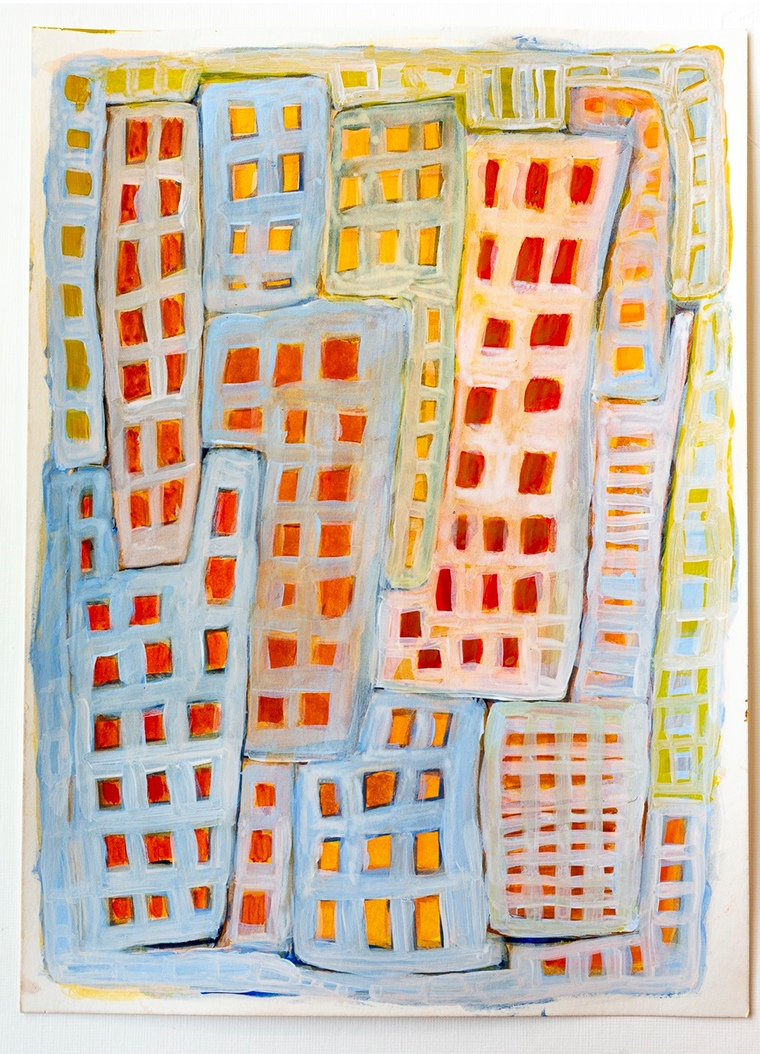 blue and orange painting of Manhattan building skyline