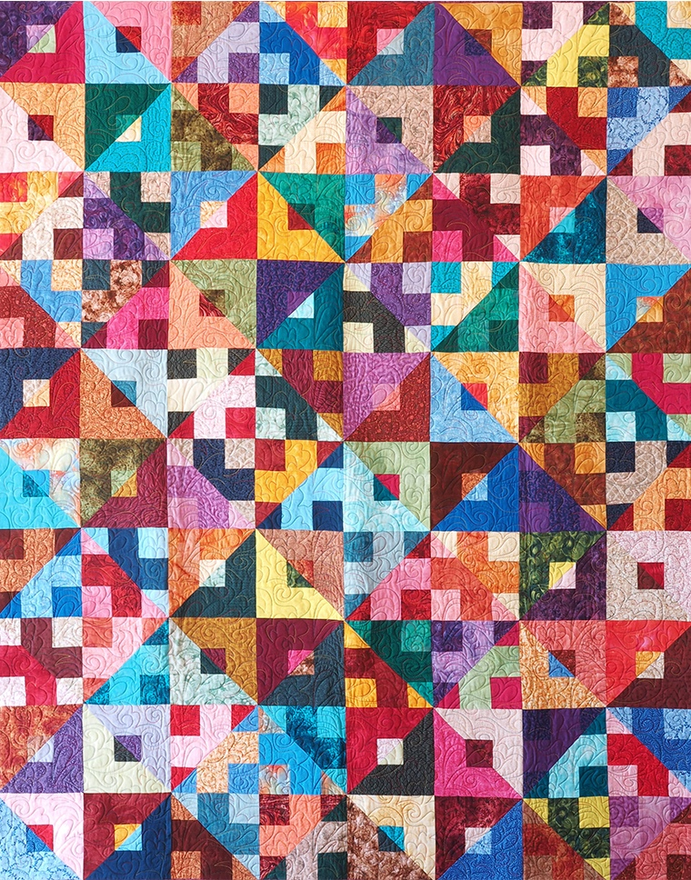 diamond and square multi coloured patterned quilt