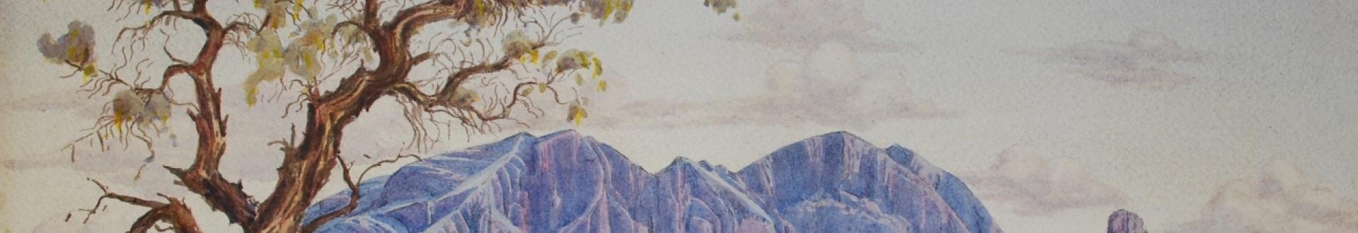 Albert Namatjira, Mount Sonder with Corkwood Tree