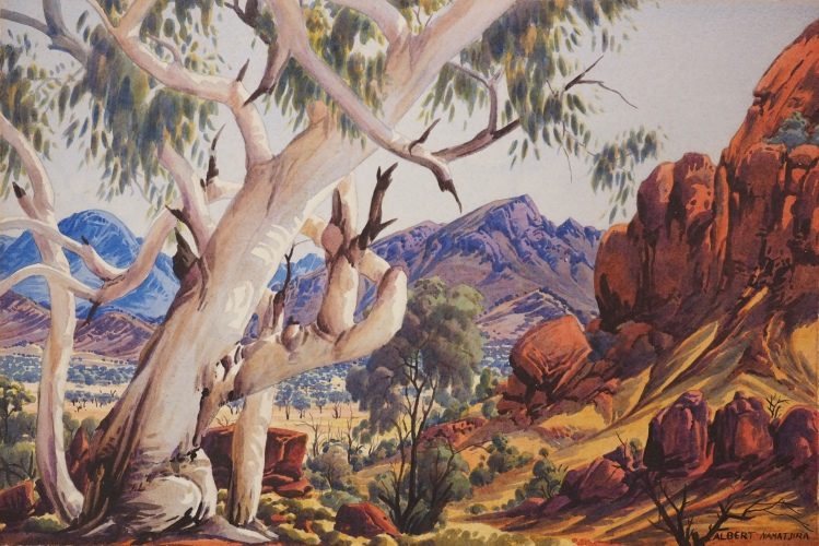 Albert Namatjira, Haasts Bluff country, 1956